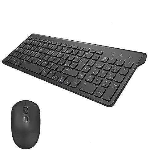 Tastiera e Mouse Wireless PC, TedGem 2.4G USB Ergonomico Mouse e Tastiera Wireless Italiano Tastiera Wireless PC con 2-in-1 USB Nano per PC Windows, Mac(Ultra-Sottile Silenzioso) (Nero)