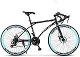 YIHGJJYP Bicicleta De Montaña Camino la 24 velocidades 26' Bicicletas Marco Doble Freno Disco Acero Alto Carbono Racing Hombres y Mujeres Adultos sólo,Set-7