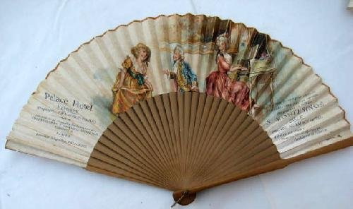 Abanico Antiguo Publicidad - Advertising Old Fan : PALACE HOTEL, S.MONTESINOS - Valencia