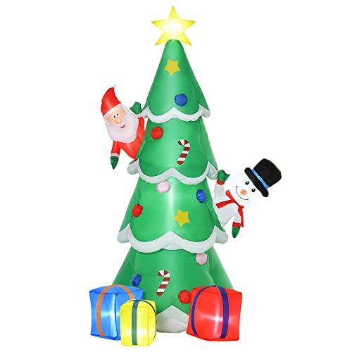 HOMCOM Árbol de Navidad Inflable 180 cm con Luces LED Adornos de Regalos con Inflador para Interiores y Exteriores 115x105x180 cm Verde