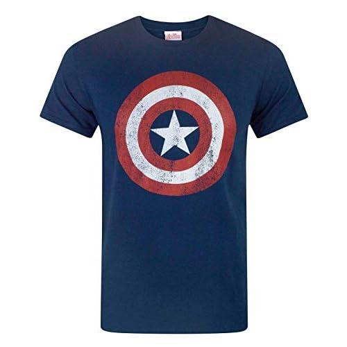 Capitan America - Maglietta a Maniche Corta per Uomo - Small