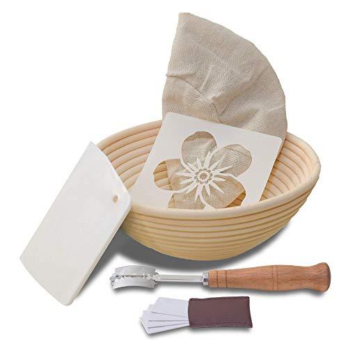 Bread Proofing Basket, 100% Rattan Basket, Sourdough Banneton Basket, Brotform Bread Making Kit W/ Dough Scraper, Bread Lame, Banneton Liner, Stencil