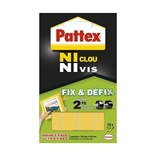 Pattex Ni Clou Ni Vis Fix & Défix, Adhésif blanc surpuissant, Adhésif double face démontable, fixe les objets solidement et durablement, 10 pastilles de 20 x 40 mm