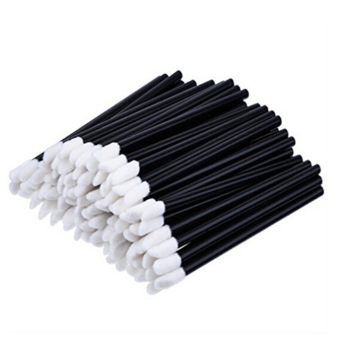 VWH 50pcs Disposable Lip Brushes Lipstick Gloss Wands Applicator Makeup Tool Kits, Black
