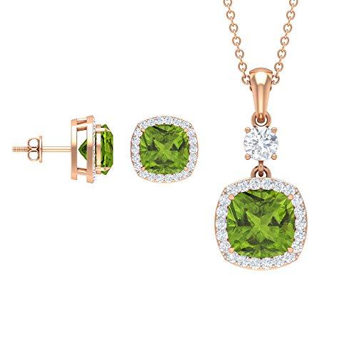 Rosec Jewels 18 quilates oro rosa cojín Round Brilliant Green Moissanite Peridoto/Olivino