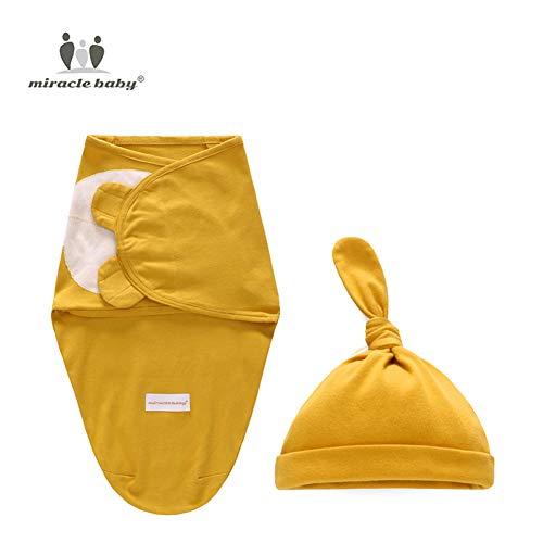 FairOnly Baby-Handtuch aus Baumwolle, für Babys, mit Decke, Hut, 2 Stück, senfgelb, S