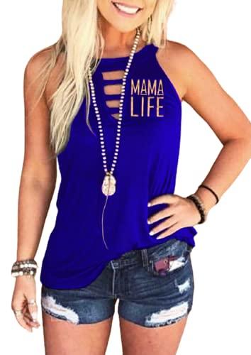 Camiseta sin mangas para mujer, estilo informal, con estampado de letras y cuello redondo, sin mangas, para verano, para mujer