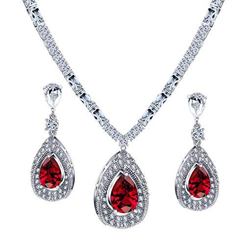 Beydodo Set de Joyas Mujer Pera con Circonita Rojo Rojo