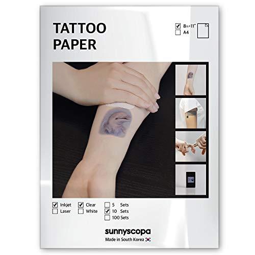Sunnyscopa Printable Temporary Tattoo Paper for INKJET printer - US LETTER SIZE 8.5