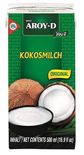12er Pack - AROY-D Kokosmilch [12 x 500ml] Kokosnussmilch Cocosmilch Coconut Milk + ein kleines Glückspüppchen - Holzpüppchen