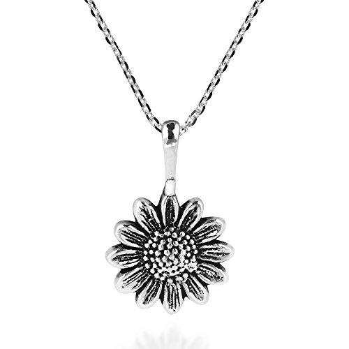 AeraVida Enchanting Sunflower .925 Sterling Silver Pendant Necklace