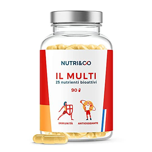 Multivitaminico Multiminerale | 25 Vitamine e Minerali con Zinco, Magnesio, Coenzima Q10, Vitamina A,B,C,D3,E,K2 | Integratore Multivitaminico Completo per Uomo e Donna | 90 Capsule | Nutri&Co