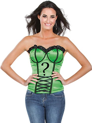 Secret Wishes DC Comics Justice League Superhero Style Adult Corset Top with Logo The Riddler, Green, Small