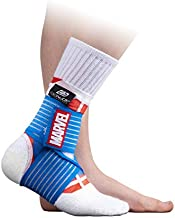 DonJoy Advantage Kids Figure-8 Ankle Support Featuring Marvel Compression Brace for Ankle Injuries Stability Youth Children Running Sports Basketball Soccer Tennis - Captain America XX-Small