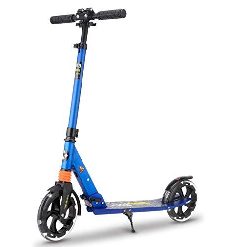 GTYMFH Scooter de pie Plegable Adolescente Adulto del niño Vespa Todas Aluminio Doble absorción de Choque Plegable de Dos Ruedas Scooter pie clásico de Frenos Scooter de Ciudad (Color : Blue)