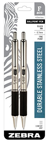 2ct F-402 Ballpoint Pens Black Ink Fine .7mm - Zebra