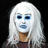 JSFQ Masque De Cosplay Party d'horreur d'halloween, Peau D'émulsion Effrayante De Masque Effrayant À Pleines Dents De Latex Effrayant Effrayante Au Latex avec De Longs Cheveux Noirs (Color : C)