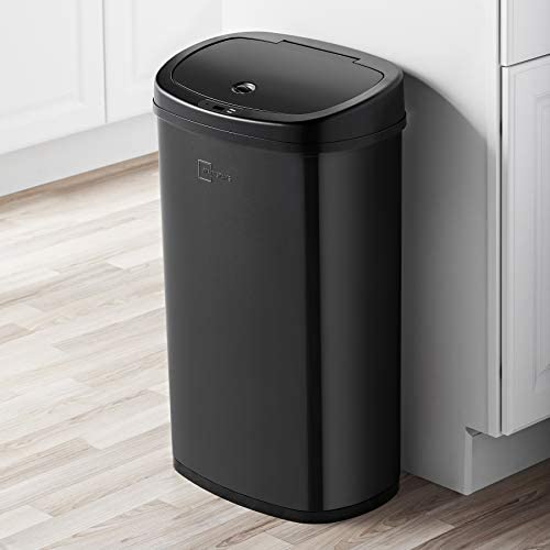 Mainstays Motion Sensor Trash Can 13 2 Gallon Black Stainless Steel product image