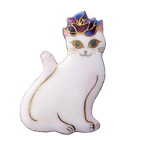 【UncleZ】 七宝焼き ブローチ バラのティアラをつけた白い猫(ネコ)