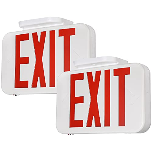 TORCHSTAR LED Exit Sign, Emergency Exit Light with Battery Backup, Double Face, UL 924, AC 120/277V, Damp Location, Hardwired Red Letter Exit Lights for Business, Pack of 2