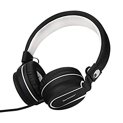 Rockpapa 952 Stereo Foldable Headphones On Ear, Adjustable Headband, with Microphone for Kids Childrens Adults, Tablet Computer Mobile iPhone iPod iPad CD/DVD MP3/4 Black White from RockPapa Inc