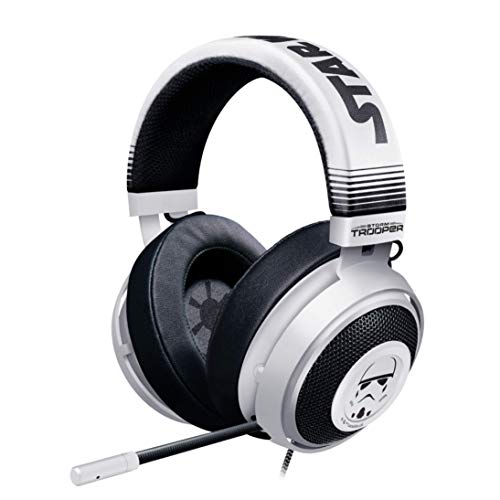Razer Kraken Gaming Headset: Lightweight Aluminum Frame - Retractable Noise Isolating Microphone - For PC, PS4, PS5 Switch, Xbox One, Xbox Series X & S, Mobile - 3.5 mm Audio - Stormtrooper Edition