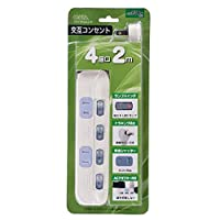 オーム電機 個別スイッチ付 交互コンセント 4個口/2m) 00-2244 HS-TSP42A2-W