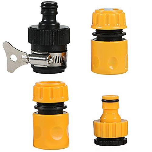 Kit di 4 Raccordo Rapido per Tubo,Rubinetto Adattatore Kit di Raccordi per Tubo da Giardino in Plastica per Tubo da Giardino in Plastica da 1/2'' E 3/4'' Tubo,di Irrigazione da Giardino