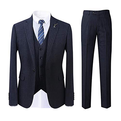YOUTHUP Heren Regular pak bruiloft gestreept herenpak 1 knop blauw business kantoor 3-delig smoking