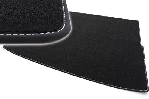 kh Teile Kofferraummatte passend für Passat Variant Velours Automatte Premium Qualität Stoffmatte schwarz Nubukleder Einfassung mit Ziernaht weiß