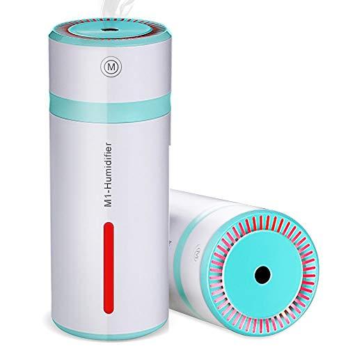 Humidificador de Vapor 240ml, Ultrasónico Mini Humidificador aire USB Vaporizador Mini automóvil humidificador portátil, apagado automático, con luz de led para el Dormitorio Oficina de Viaje