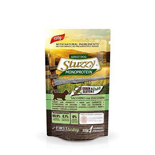 Stuzzy, Monoprotein Grain & Gluten Free, Comida húmeda para Perros Adultos, Sabor Pavo y calabacines, en paté - Total 1,8 kg (12 Sobres x 150 gr) ✅