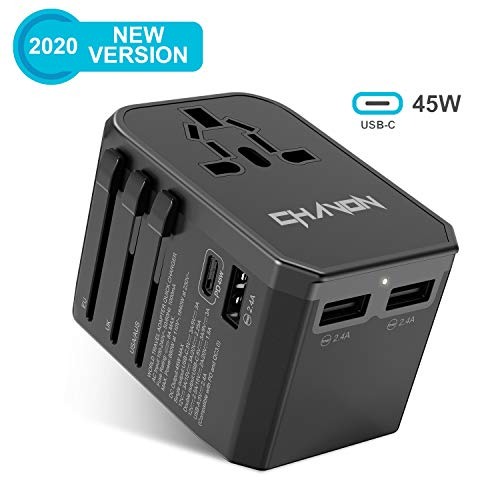 Travel Adapter 45W PD C-Type Universal Plug Adapter for Worldwide Travel, International Power Adapter Plug Converter with 3 USB Ports 2.4A 110V - 250V Wall Charger Galaxy S20 Fast Charger for Samsung
