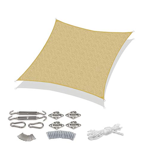 Sekey Toldo Parasol Cuadrado de Polietileno de Alta Densidad, Permeable, Transpirable, protección UV, para Exterior, jardín o terraza, con Cuerdas y Kit de fijación, Arena 3 x 3m