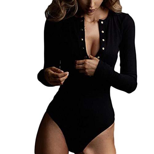 Saoye Fashion Longsleeve Femmes Bodysuit Bouton Couleur Unie Skinny Tops Tendance Confortable Vêtements de Fiesta Simple Body Femmes Mode Automne Hiver Apprêté Casual Top