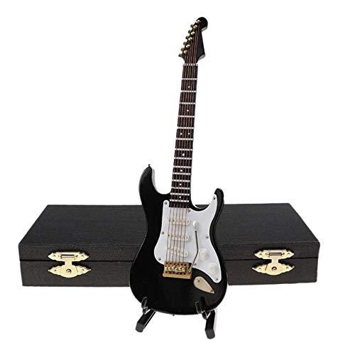 Iycorish Guitarra EléCtrica en Miniatura de Madera con Soporte y Estuche Instrumento Musical Casa de Mu?Ecas en Miniatura Modelo Negro