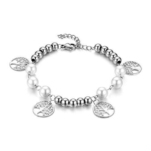 Flongo Damesketting, damesarmband, dames, armband, met parels, bolletjes, levensboom, zilver, elegant