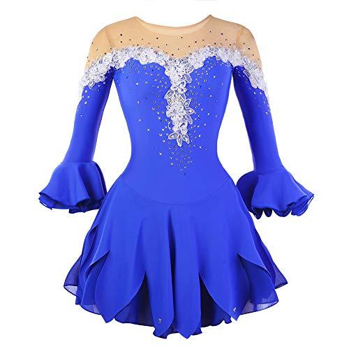 Kmgjc Eiskunstlaufkleid Damen Mädchen Eislaufkleid Blaue Blume Hohe Elastizität Training Wettkampf Eislaufbekleidung Atmungsaktiv Handgemacht Fashion Floral Halbarm Eislaufen (Color : Blue, Size : L)