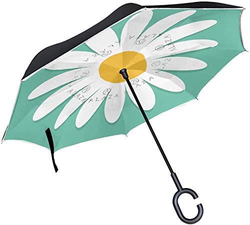 Paraguas Estilo Vintage con diseño de Margarita Floral con Mango en Forma de C para Coches, Mujeres y Hombres