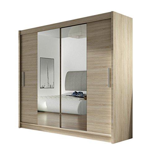 Kleiderschrank London II mit Spiegel, Schiebetürenschrank, Schwebetürenschrank, Modernes Schlafzimmerschrank 180x215x57cm, Garderobe, Schlafzimmer (Sonoma Eiche)
