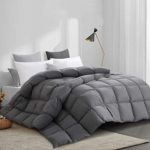 """HOMBYS Super King Goose Down Comforter Goose Feather Oversize King Duvet Insert 116 x 108 Hypoallergenic 100% Cotton Cover Down Proof with Corner Tabs(Gray Super King-116"""" x 108"""")-Down Comforter"""