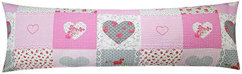 Seersucker Seitenschläferkissen Bezug 40x145cm - Landhaus Herzen Rosen in grau und rosa - Öko-Tex, 100{f2fd08d3bdd9c6c60e007e19f89ae2ac4c6d210adae2d1f323ce1421fcea6132} Baumwolle, Stillkissenbezug (SB-422-2)