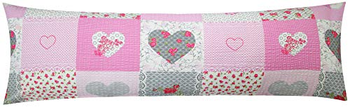 Seersucker Seitenschläferkissen Bezug 40x145cm - Landhaus Herzen Rosen in grau und rosa - Öko-Tex, 100% Baumwolle, Stillkissenbezug (SB-422-2)