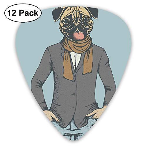 Gitaar Picks12pcs Plectrum (0.46mm-0.96mm), Abstract Beeld Van Een Hond Met Menselijke Verhoudingen Met Jas Sjaal En Jeans Absurd,Voor Uw Gitaar of Ukulele