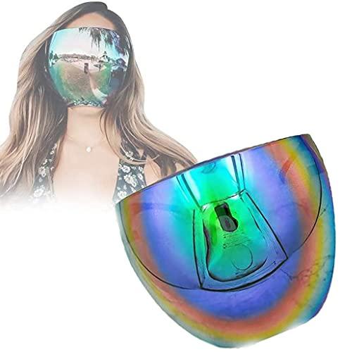 Gafas de Sol de Espejo Grandes Polarizadas de Cara Completa de Gran Tamaño, Gafas de Sol con Protección Facial, Gafas Protectoras de Entretenimiento Diario,Visera-pantalla Facial,Protección UV (verde)
