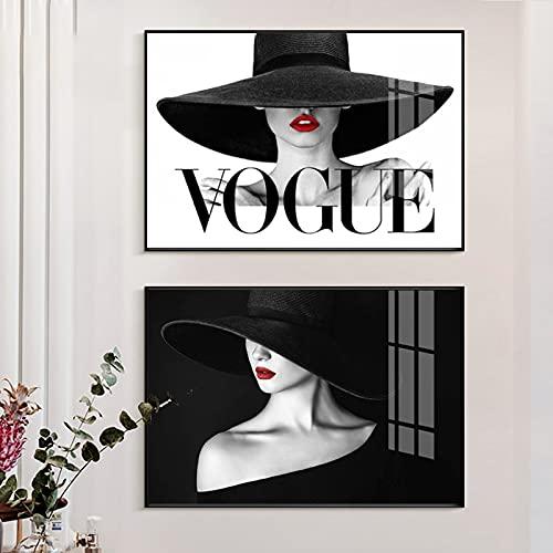 Elegante dama Moda Sexy Labios rojos Maquillaje Mujer Sombrero de ala grande Salón de belleza Lienzo Pintura Arte de la pared Póster Impresiones Sala de estar Estudio Decoración para el hoga
