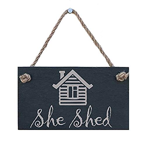 She Shed slate hanging sign - a fun female version of the 'Man Cave', ideal as a birthday present or for any occasion