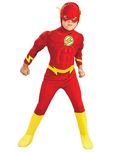 NVHAIM Childs The Flash Muscle Cofre Costa, superhroe The Flash Deluxe Child Child Childs Super Hero Fancy Vestido de Lujo (3-14 aos) Escenario de pelicula,Kid XL 135~150cm