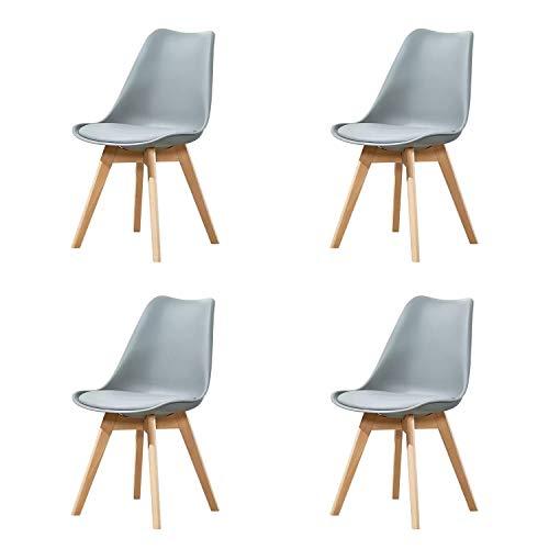 GroBKau - Set di 4 sedie per sala da pranzo o cucina, stile scandinavo tulip, moderne, con gambe in legno di faggio massiccio e cuscini in similpelle