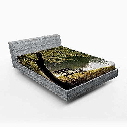 ABAKUHAUS Boom Hoeslaken, Rusten bij Riverside, Zachte Decoratieve Stof Beddengoed, Elastische Band Rondom, 135x 190 cm, Groen